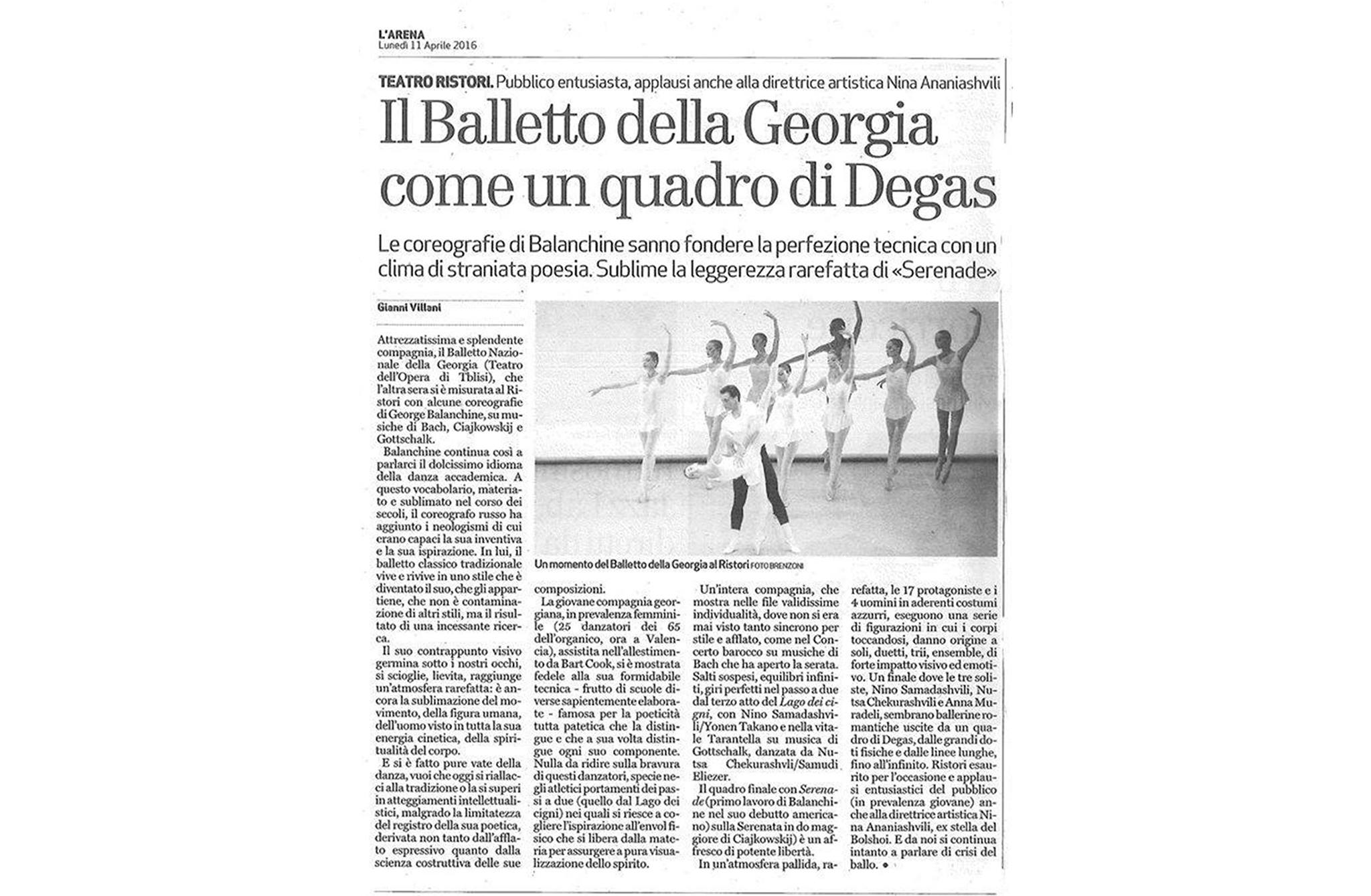 "The Italian newspaper L'ARENA ""The Ballet of Georgia - as Gorgeous as Degas' Ballerinas"" ..."